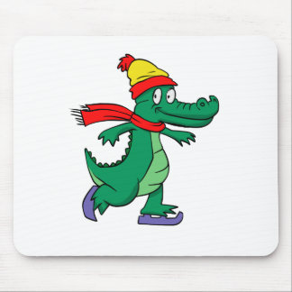 Alligator skating with hat and scarf mouse pad
