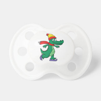 Alligator skating with hat and scarf pacifier
