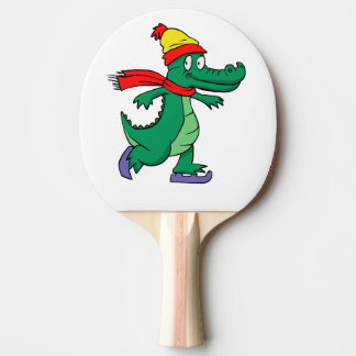 Alligator skating with hat and scarf ping pong paddle