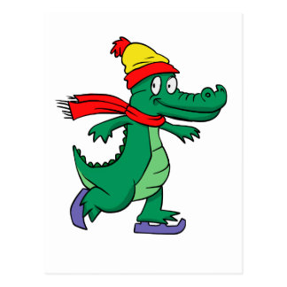 Alligator skating with hat and scarf postcard