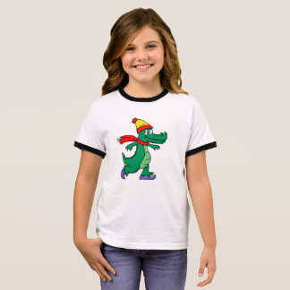 Alligator skating with hat and scarf ringer T-Shirt