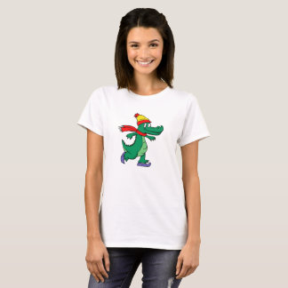 Alligator skating with hat and scarf T-Shirt