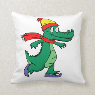 Alligator skating with hat and scarf throw pillow
