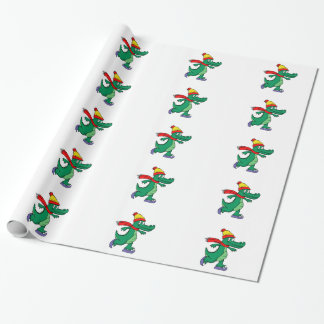 Alligator skating with hat and scarf wrapping paper