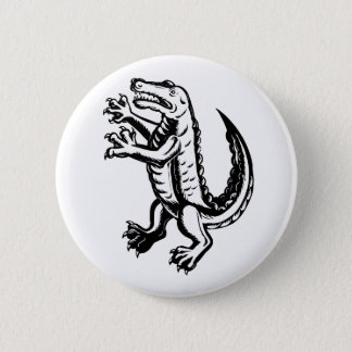 Alligator Standing Scraperboard 2 Inch Round Button
