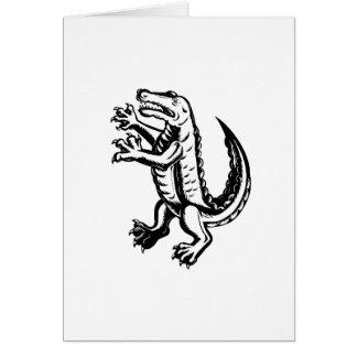 Alligator Standing Scraperboard Card