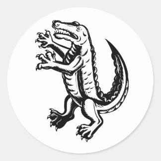 Alligator Standing Scraperboard Classic Round Sticker
