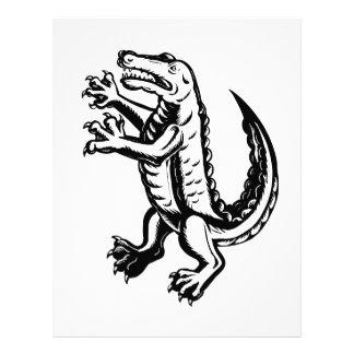 Alligator Standing Scraperboard Letterhead