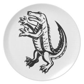 Alligator Standing Scraperboard Plate