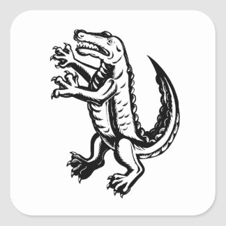 Alligator Standing Scraperboard Square Sticker