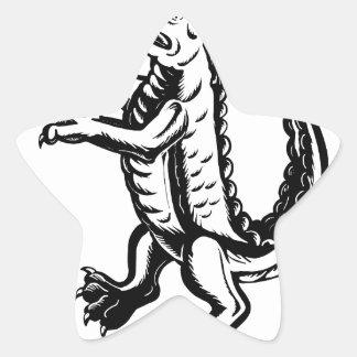 Alligator Standing Scraperboard Star Sticker