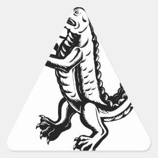 Alligator Standing Scraperboard Triangle Sticker