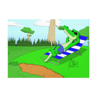 Alligator's Relaxing At The Swamp (Canvas) Canvas Print