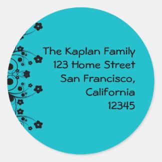 Allison Rachel Flowers & Pearls Teal Black Classic Round Sticker