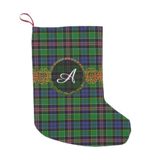 Allison Tartan And Monogram Small Christmas Stocking