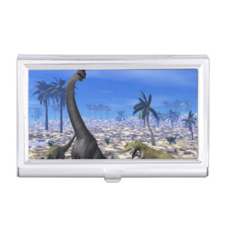 Allosaurus attacking brachiosaurus dinosaur - 3D r Business Card Holder