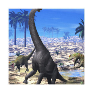Allosaurus attacking brachiosaurus dinosaur - 3D r Canvas Print