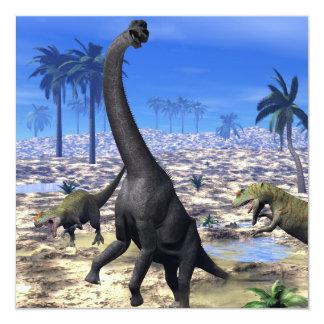 Allosaurus attacking brachiosaurus dinosaur - 3D r Card