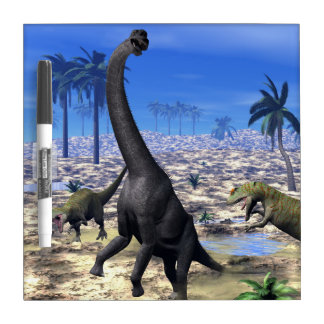 Allosaurus attacking brachiosaurus dinosaur - 3D r Dry Erase Board