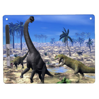 Allosaurus attacking brachiosaurus dinosaur - 3D r Dry Erase Board With Keychain Holder
