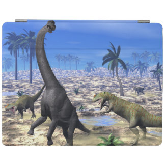Allosaurus attacking brachiosaurus dinosaur - 3D r iPad Cover