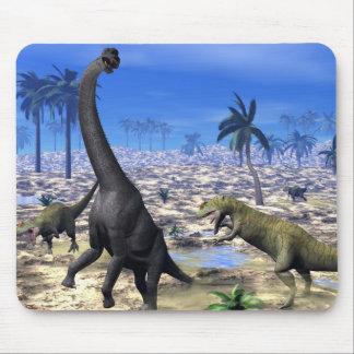 Allosaurus attacking brachiosaurus dinosaur - 3D r Mouse Pad