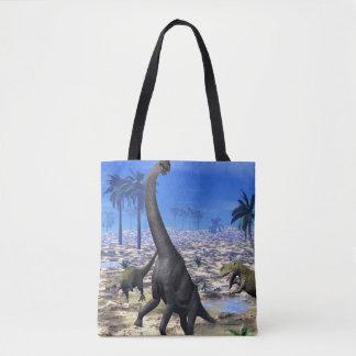 Allosaurus attacking brachiosaurus dinosaur - 3D r Tote Bag