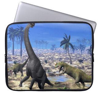 Allosaurus attacking brachiosaurus dinosaur laptop sleeve