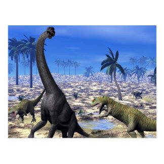 Allosaurus attacking brachiosaurus dinosaur postcard
