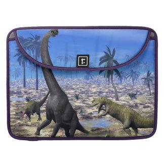 Allosaurus attacking brachiosaurus dinosaur sleeve for MacBook pro