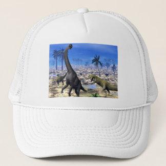 Allosaurus attacking brachiosaurus dinosaur trucker hat