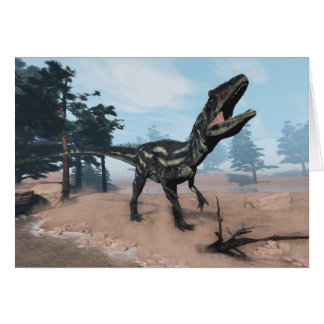 Allosaurus dinosaur roaring - 3D render Card
