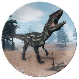 Allosaurus dinosaur roaring - 3D render Plate
