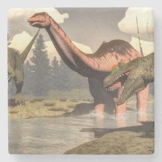 Allosaurus hunting big brontosaurus dinosaur - 3D Stone Coaster