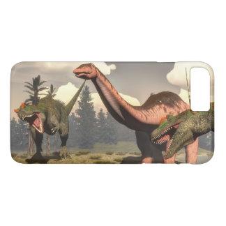 Allosaurus hunting big brontosaurus dinosaur iPhone 8 plus/7 plus case