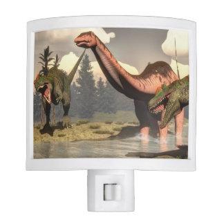 Allosaurus hunting big brontosaurus dinosaur night light