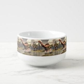 Allosaurus hunting big brontosaurus dinosaur soup mug
