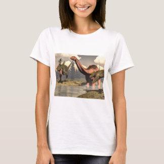 Allosaurus hunting big brontosaurus dinosaur T-Shirt