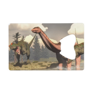 Allosaurus hunting big brontosaurus dinosaur wallet bottle opener