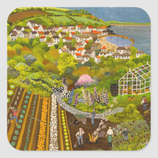Allotment above Mousehole Square Sticker