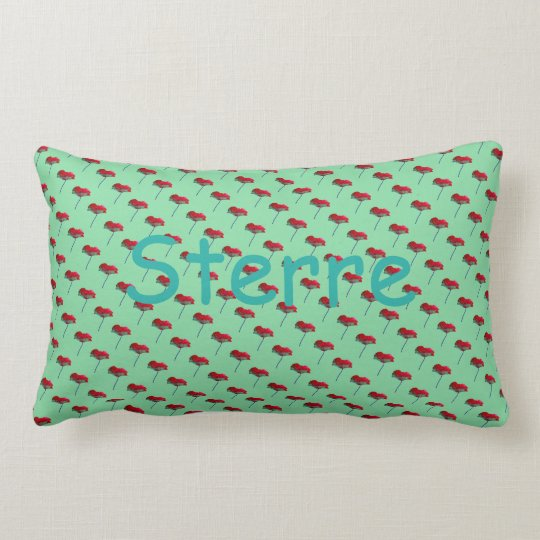 Allover small poppy flower print green red STERRE Lumbar Pillow