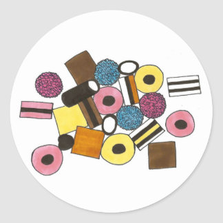 Allsorts All Sorts Liquorice Licorice Candy Classic Round Sticker
