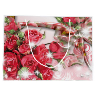 Alluring Pink Roses Collection Large Gift Bag