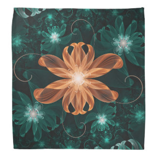 Alluring Turquoise and Orange Fractal Tiger Lily Bandana