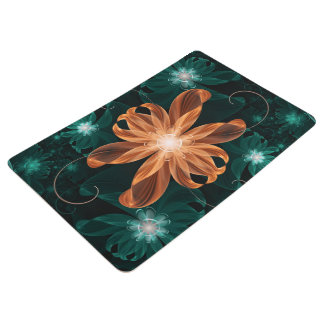 Alluring Turquoise and Orange Fractal Tiger Lily Floor Mat