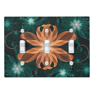 Alluring Turquoise and Orange Fractal Tiger Lily Light Switch Cover
