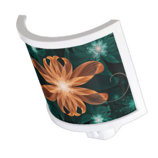 Alluring Turquoise and Orange Fractal Tiger Lily Night Lights