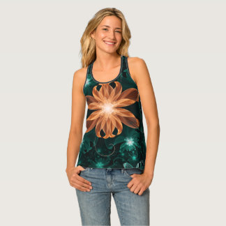 Alluring Turquoise and Orange Fractal Tiger Lily Tank Top