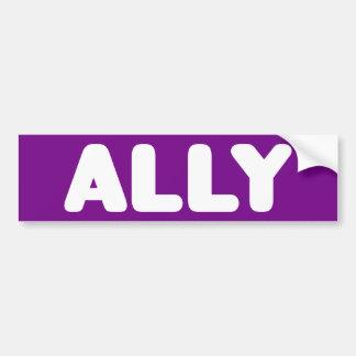 Ally LGBTQ Straight Ally Spirit Day White & Purple Bumper Sticker