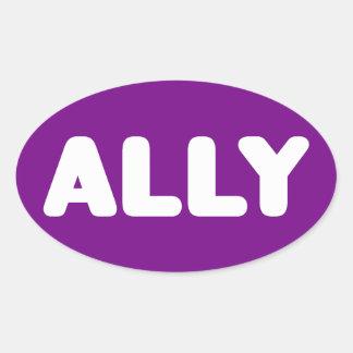 Ally LGBTQ Straight Ally Spirit Day White & Purple Oval Sticker